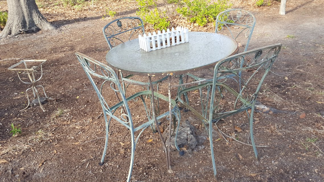 Old Wrought Iron Picnic Table And Cairs In Warner Robins