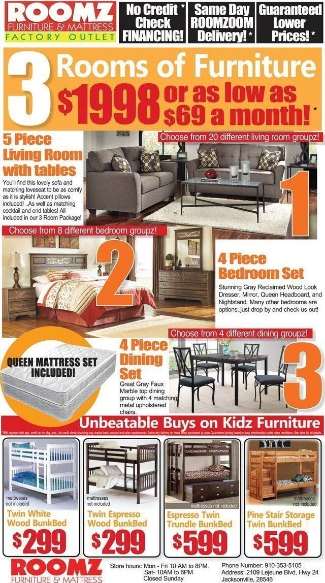 3 Roomz Of Furniture For $69 Bucks! In Camp Lejeune