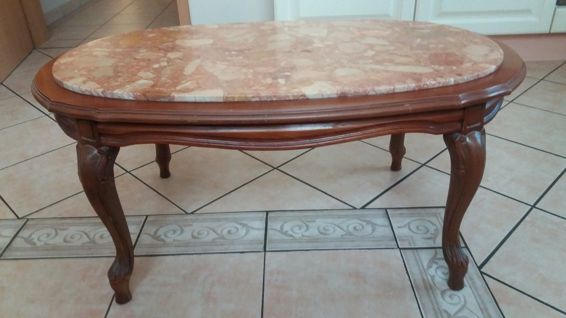 Solid Chippendale Oak Table With Genuine Marble Top Furniture - Genuine marble coffee table