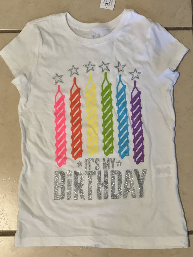 Brand New Childrens Place Girls Birthday T Shirt NWT Size 7 8