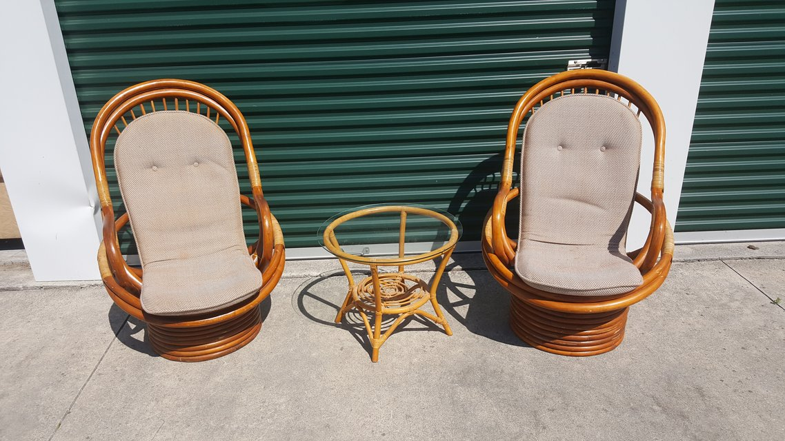 2 Rattan chairs w/ rattan glass table REDUCED $150 ...