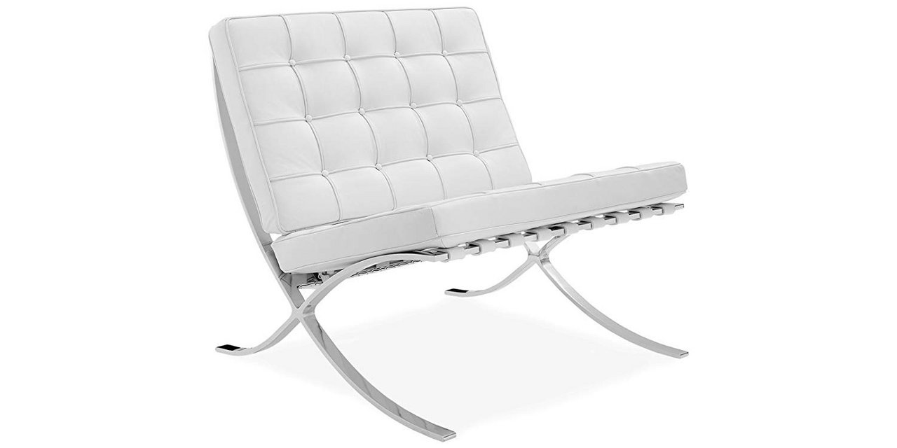 2 White Barcelona Chairs 100 Italian Selected Natural Leather