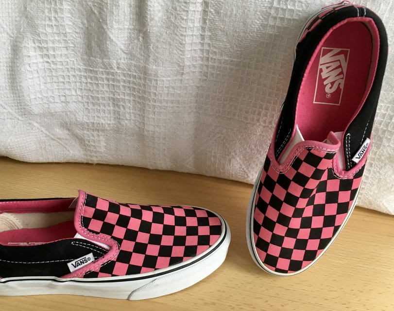fea362b45 Black and pink checkered Vans Size 6